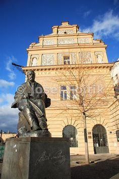 Monument of Bedrich Smetana in front of the Bedrich Smetana Museum on Novotny Bridge, Prague, Czech Republic