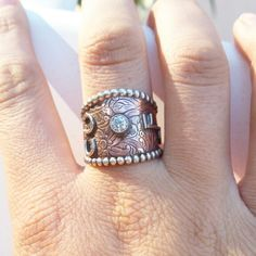 Cubic zirconia copper ranch brand ring by The Classy Trailer On FB and Instagram @theclassytrailer