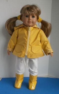 American Girl doll size Yellow Zip Front Rain Jacket with Boots