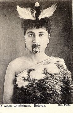 Maori woman with chin tattoo