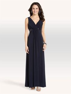 Ribbon Waist Double V-Neck Gown