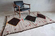 The GLINTED STAR-SHINE 7'x4' Boucherouite Rug. Tapis by pinkrugco