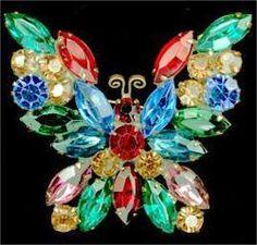 Weiss Vintage Rhinestone Butterfly Brooch