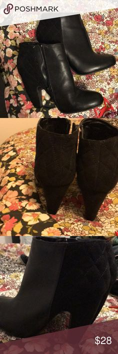 Black heeled booties. BAMBOO Never worn. Black faux-leather heeled booties with quilted pattern. Excellent condition. Stickers still present but no tags. Size 7 1/2.  Super cute, just too small. Fee free to make an offer BAMBOO Shoes Ankle Boots & Booties