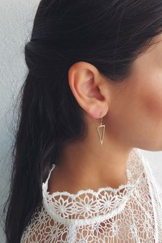 Gold plated triangle shaped earrings