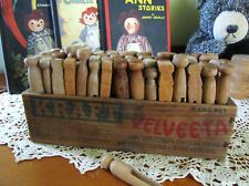 Vtg Clothes Pins Repurpose Primitive Antique Wood Cheese Box Laundry Collectible