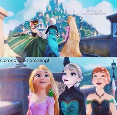 Rapunzel: Wow, this place is amazing! Anna: It's so beautiful! Elsa: C'mon lets go! Rapunzel: Meirda catch up! Meirda: I'm trying!