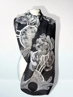 Back+scarves++Peony+silk+scarf++hand+painted+foulard++by+MinkuLUL,+$70.00