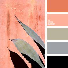бледно-коралловый, болотный, контрастная палитра, коралловый, оливковый, оранжевый, оттенки кораллового, оттенки кораллового цвета, серый, стальной, цвет перьев фламинго, черный.