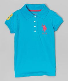 Another great find on #zulily! Teal Blue Four-Button Polo - Girls #zulilyfinds