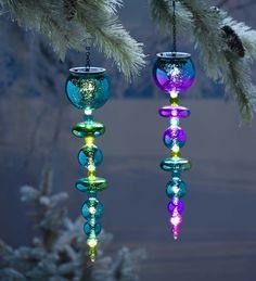Solar Finial Ornament in Glass   Decorative Garden Accents
