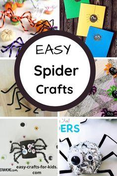 Easy Spider Crafts Diy Crafts For Tweens, Fun Diy Crafts, Easy Crafts For Kids, Preschool Crafts, Cool Art Projects, Craft Projects For Kids, Project Ideas, Halloween Crafts For Kids, Halloween Diy