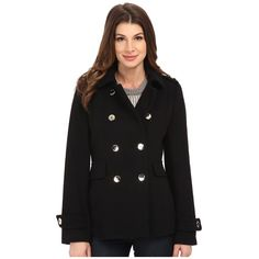 Calvin Klein Double Breasted Wool Coat Women's Coat ($260) ❤ liked on Polyvore featuring outerwear, coats, draped wool coat, double breasted military coat, belted coat, military pea coat y double breasted wool peacoat