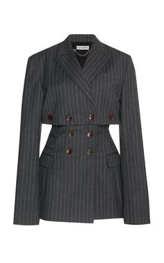 Altuzarra Millett Pinstripe Jacket In Grey Glamouröse Outfits, Kpop Fashion Outfits, Girls Fashion Clothes, Stage Outfits, Cute Casual Outfits, Stylish Outfits, Fashion Dresses, Look Fashion, Korean Fashion
