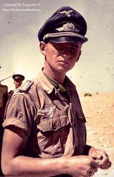 "Lieutenant Luftwaffe Hans Dybul, a dive bomber pilot Ju-87 ""Stuka"", knocked down in June 1942 in the skies over Tobruk and taken prisoner by the British."