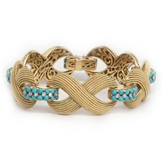 Cartier   A Turquoise, Diamond and Gold Bracelet, by Cartier