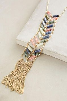 Chevron Fringe Lariat Necklace - August 04 2019 at Colar Fashion, Fashion Necklace, Fashion Jewelry, Women Jewelry, Girls Jewelry, Colar Lariat, Lariat Necklace, Women's Accessories, Gold Armband
