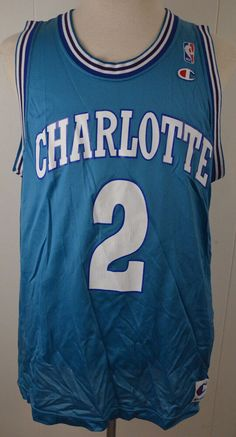 Champion Charlotte Hornets Replica NBA Jersey  2 Larry Johnson 48 Teal  Vintage  Champion   c3fc02e47