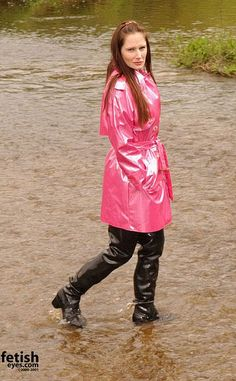 Pink raincoat and Acquo boots Pink Raincoat, Girls Raincoat, Wellies Boots, Rain Boots, Mudding Girls, Rubber Raincoats, Thigh High Boots Heels, Rain Wear, Lady