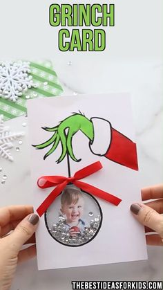 GRINCH CARD - this cute Grinch shaker card comes with a free printable template. It's such a cute Christmas card for kids to decorate too! halloween art for kids GRINCH CARD Christmas Card Crafts, Grinch Christmas, Christmas Activities, Holiday Crafts, Christmas Ornaments, Christmas Card Ideas With Kids, Grinch Halloween, Handmade Christmas Gifts From Children, Free Printable Christmas Cards