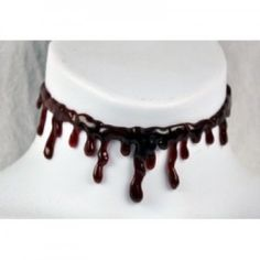 Fake blood slit throat choker for Halloween. Clever clothing item.