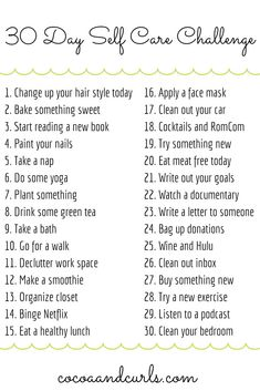 Join in on this fun self care challenge! We tend to think about ourselves last let's change that for the next 30 days. 30 Day Self Care Challenge Health And Wellbeing, Mental Health, Health Care, Vie Motivation, Happiness Challenge, Self Care Activities, Self Improvement Tips, Self Care Routine, Self Development