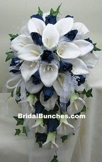 calla lilies flowers bouquets with navy and orange   Navy Blue & White Calla Lily Wedding Flowers Bridal Bouquet (Choose ...
