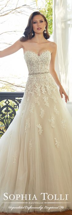 The Sophia Tolli Spring 2015 Wedding Dress Collection - Style No. Y11552 Prinia www.sophiatolli.com #weddingdresses