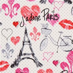 white Paris sketches fabric by Timeless Treasures 1