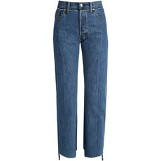 Vetements X Levi's reworked straight-leg jeans (2,000 CAD) ❤ liked on Polyvore featuring jeans, pants, vetements, blue, straight leg jeans, raw hem jeans, cutout jeans, cut out jeans and blue jeans