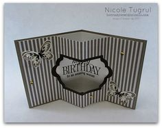 Inside tunnel card from the top. SU Watercolor Wings & Happy Birthday, Everyone Fun Fold Cards, Folded Cards, Scrapbooking, Scrapbook Cards, Happy Birthday, Birthday Cards, Pop Up, Hand Made Greeting Cards, Interactive Cards