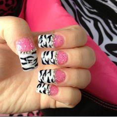 Pink an white zebra bling nails