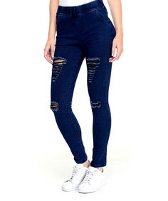 Take a look at this Dark Blue Distressed Pull-On Jeggings today!
