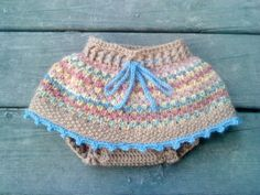 """Too cute! Crocheted wool """"skirtie"""" to use as a soaker/cover over cloth diapers"""