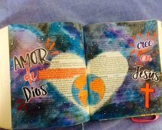 Bible Journaling español, espacio, space acuarella bible, juan 3:16 ivannabanana