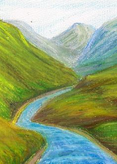Oil Pastel Painting Of Scenery Oil Pastel Paintings, Oil Pastel Drawings, Oil Pastel Art, Seascape Paintings, Landscape Drawings, Landscape Art, Landscape Paintings, Mountain Landscape, Crayon Drawings