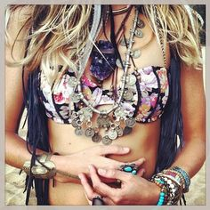 Bohemian jewelry, boho chic layered necklaces, modern hippie chunky rings. For more fashion trends FOLLOW http://www.pinterest.com/happygolicky/the-best-boho-chic-fashion-bohemian-jewelry-gypsy-/