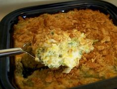 Creamy Broccoli Casserole - LOVED this!!  I have modified this a bit by adding extra broccoli, some chopped small, some left larger, and an extra 1/2 cup of cheddar cheese.  I also use Town House crackers on top instead of cheese crackers.