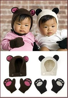 Bear Panda Cubs Hat and Mitts- Sized to fit Newborn and 12 months. Use brown pink for bear, white black for panda. Knitting For Kids, Crochet For Kids, Knitting Projects, Knit Or Crochet, Baby Knitting, Crochet Projects, Free Knitting, Free Crochet, Crochet Baby Hats