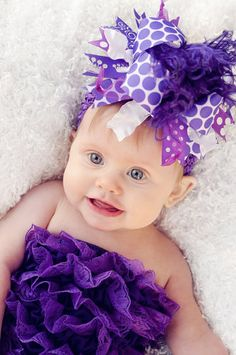 Dark Purple Over The Top Boutique Hair Bow. Adorable!!