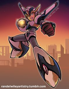 """randelwileyartistry: """" Decided to step outside my comfort zone and paint a scene with sunset colors and lighting. Mega Man X in his Falcon Armor. """""""