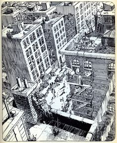 "The ""Life"" illustration from Will Eisner's ""City"" portfolio. Source: Ark Magazine, 1988."
