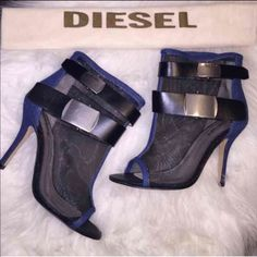 Diesel Mesh Heels and Blouse Great condition comes with box and dust bag Top NWT Please****Read****Before****Purchasing****.     please ask questions items come from smoking home but Pet free home I ship same day or next business day ⭐️No Holds⭐️No Trading⭐️No low balling feel comfortable to buy with me I'm a honest seller.                       Thanks for looking Diesel Shoes Ankle Boots & Booties