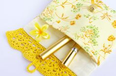 Crochet bag Cosmetic bag Yellow bag Makeup clutch by @cocoflower  https://www.etsy.com/shop/CocoFlowerShop