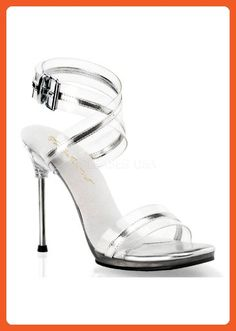 23b2d60b14 Fabulicious Women's Chic 05 Ankle Strap Sandals,Silver,7 M - Athletic shoes  for