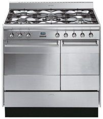 Smeg SUK92MFX5 90cm Stainless Steel CLASSIC Dual Cavity Dual Fuel Cooker with Double Oven and Gas Hob