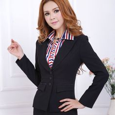 Proper work fashion 2014 | 2014 new style fashion women business suits with 3 buttons ladies work ...