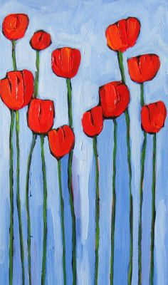 Poppies on Blue - Patty Baker (more of the artist's work on my board 'art of flowers ~ contemporary decorative') Folk Art Flowers, Abstract Flowers, Flower Art, Watercolor Paintings For Beginners, Rock Painting Designs, Arte Floral, Whimsical Art, Art Lessons, Art Drawings