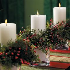 Christmas Candle Holders: Make use of evergreens for these festive Christmas candle decorations for your next holiday centerpiece