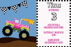 Monster Truck Birthday Party Invitation by TinyBeginningsDesign